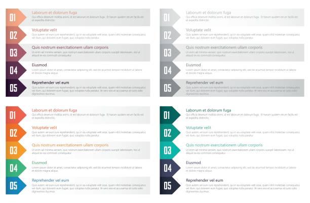 numbered list design template numbered list set template for webdesign, flat design list stock illustrations