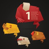 Vector abstract origami numbered options infographic banners with ribbons on the dark background. Image contains transparency in shadows and lights, you can put it on every surface. 10 EPS.
