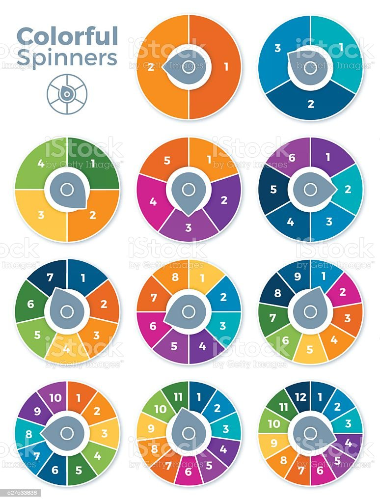 Numbered Spinner Templates vector art illustration
