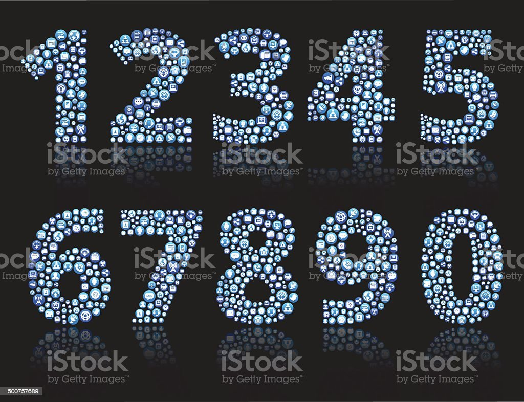 Numbers 0-nine royalty-free vector Social Networking and Internet Icon Set vector art illustration