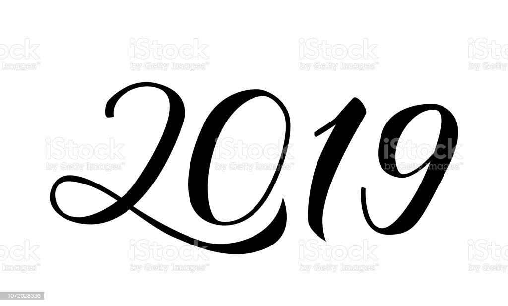 Numbers 2019 Hand Written With Brush Calligraphy Lettering For