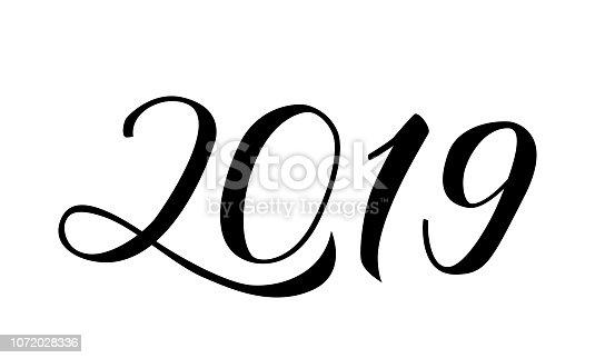 Ilustración De Escrito Con Pincel A Mano Números 2019 Letras De