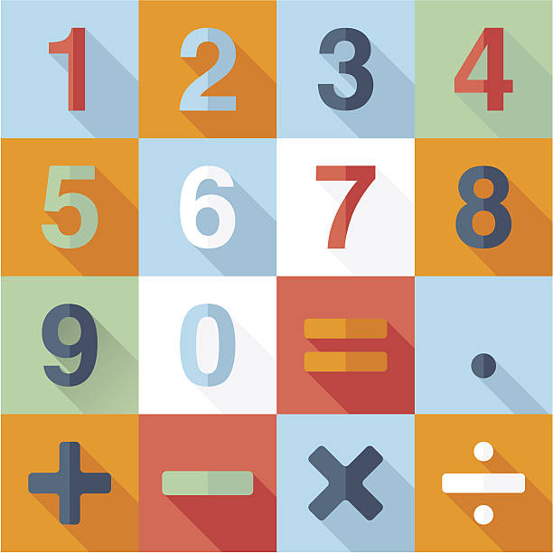 Numbers and Mathematical Flat Icons vector art illustration