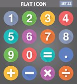 Vector application Numbers and Mathematical Icons set in flat style with long shadows.