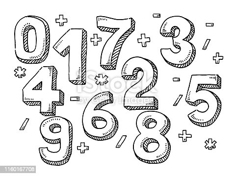 Hand-drawn vector drawing of a set of Numbers And Mathematical Symbols. Black-and-White sketch on a transparent background (.eps-file). Included files are EPS (v10) and Hi-Res JPG.