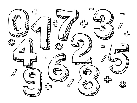 Numbers And Mathematical Symbols Drawing