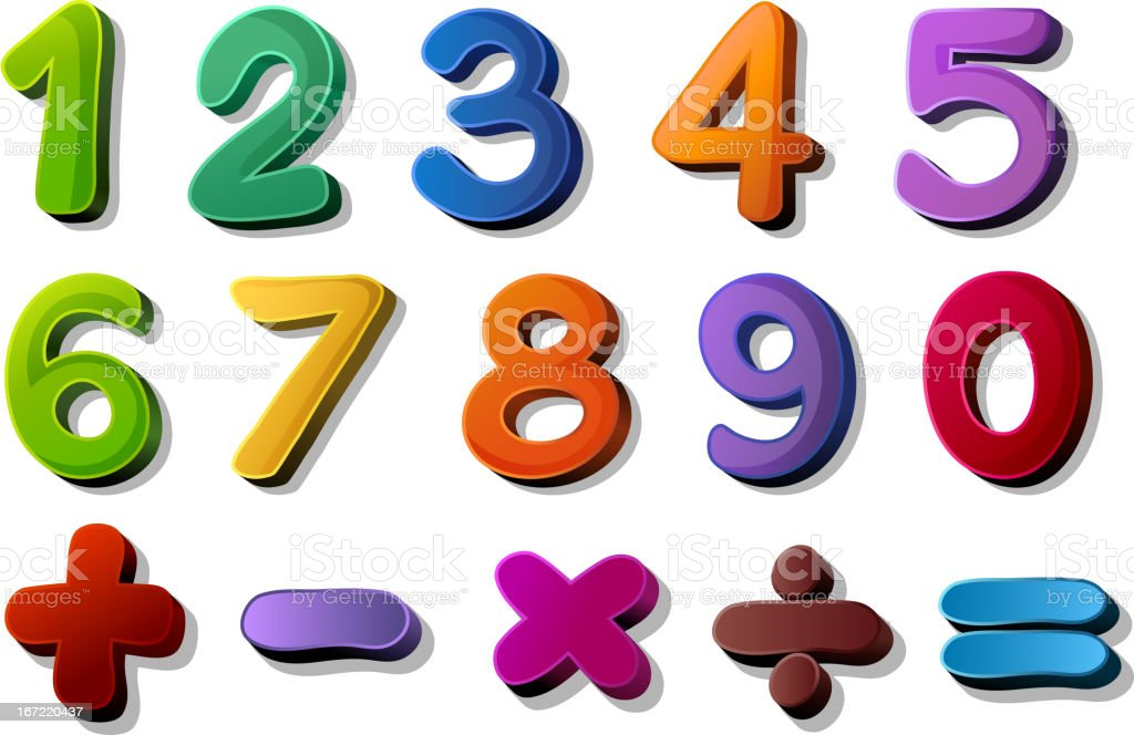 Numbers and maths symbols royalty-free stock vector art