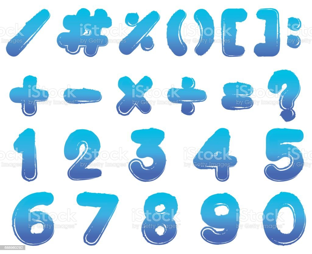Numbers And Signs In Blue Color Stock Vector Art & More Images of ...