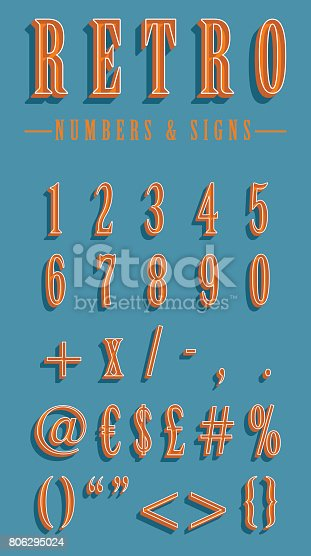 istock Numbers and signs set in vintage style 806295024