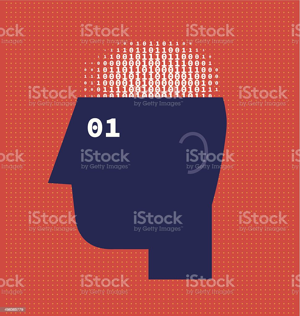 Numbers Brain vector art illustration