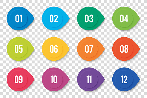 Numbers Bullet Point From 1 To 12 In The Form Of Round Arrows And 3D Effect. Vector Bullet Points For Infographic Design Or Presentation