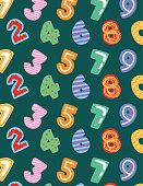 kids numbers cartoon pattern template over chalkboard background. vector illustration
