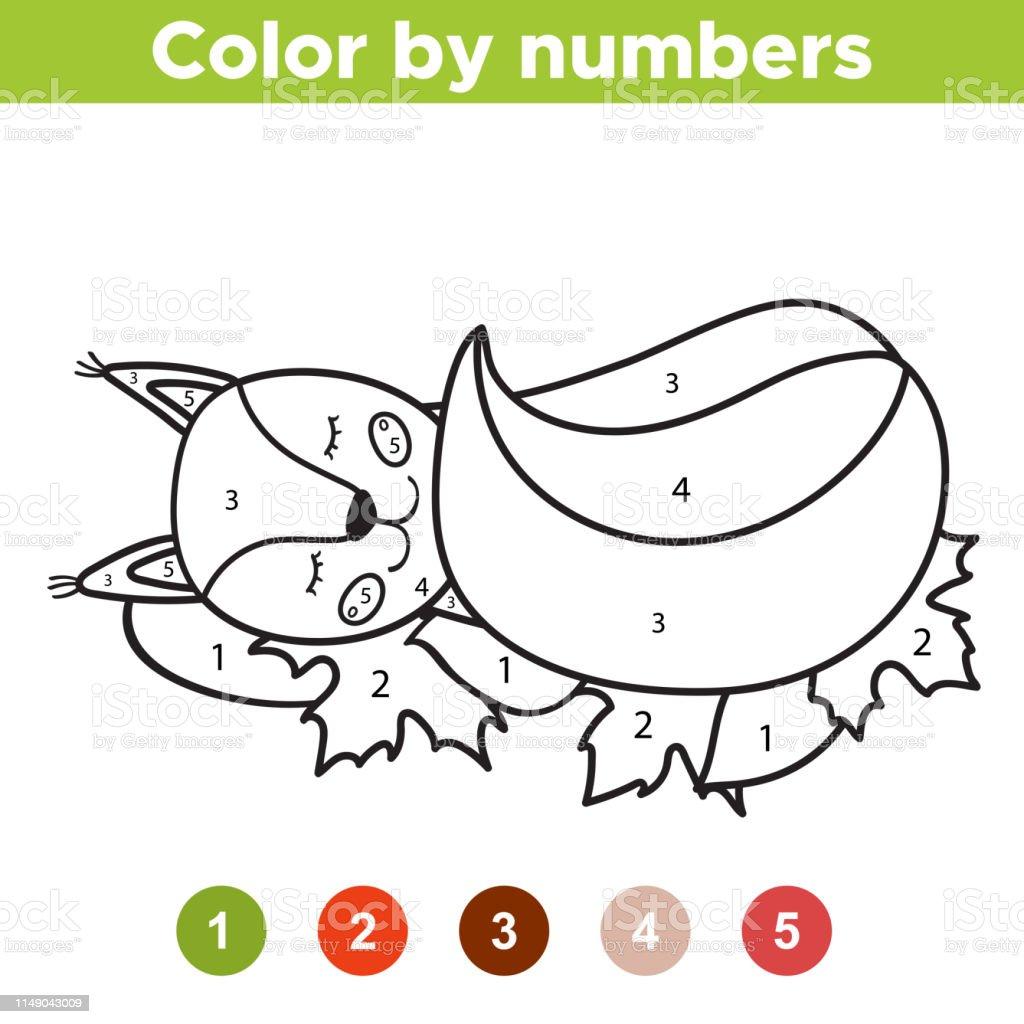 Ilustración De Página Para Colorear Números Linda Ardilla De