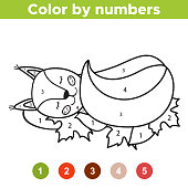 Numbers coloring page. Cute cartoon squirrel is sleeping on the leaves. Educational game for preschool kids. Autumn. Woodland animals. Vector illustration.