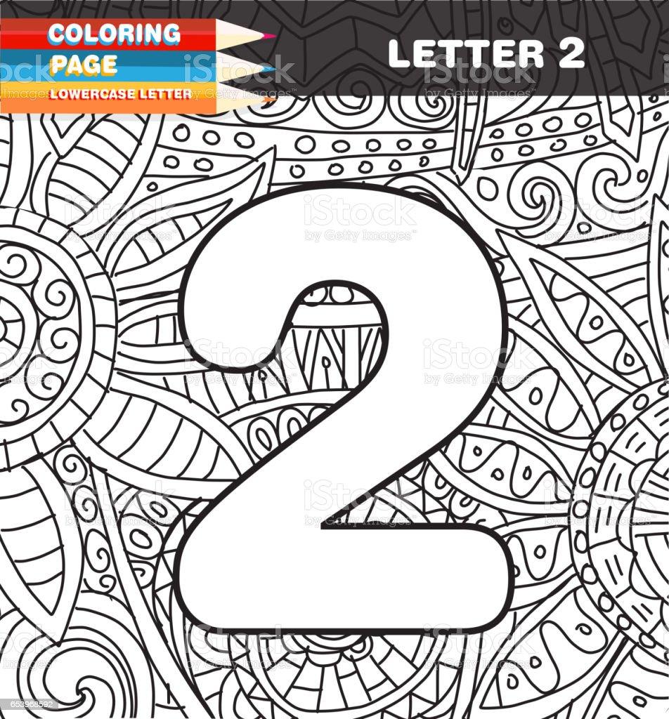 Sayılar Boyama Sayfa Doodle Stok Vektör Sanatı 2 Rakamınin Daha