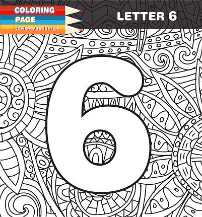 Sayilar Boyama Sayfa Doodle Stok Vektor Sanati 6 Rakami Nin Daha