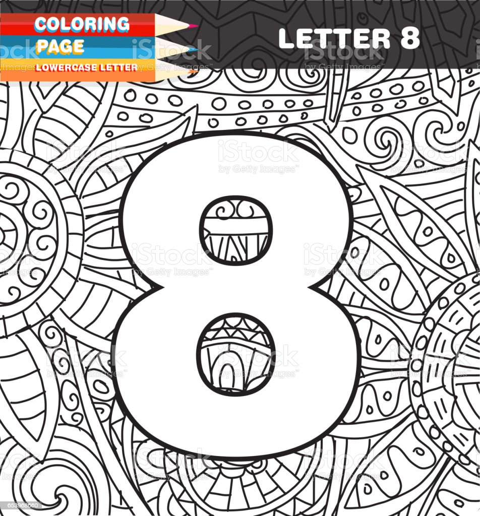 Sayilar Boyama Sayfa Doodle Stok Vektor Sanati 8 Rakami Nin Daha
