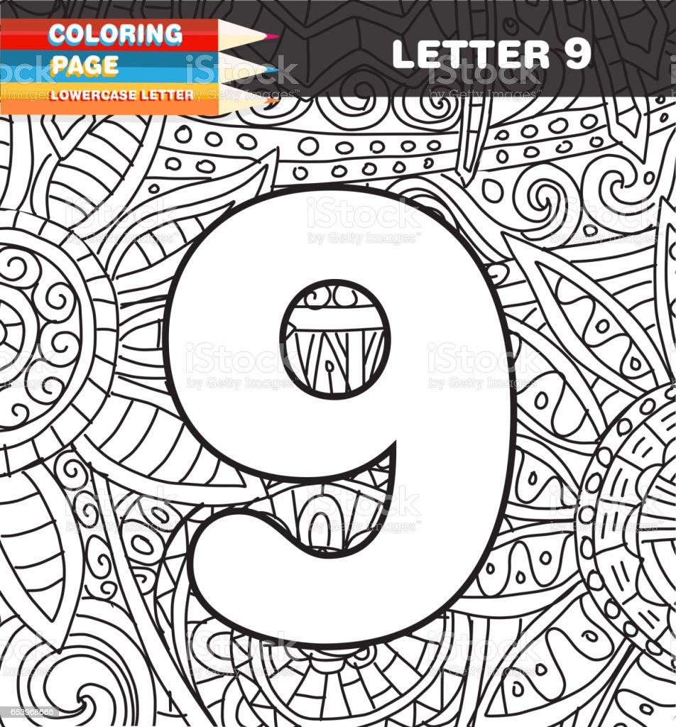 Sayilar Boyama Sayfa Doodle Stok Vektor Sanati 9 Rakami Nin Daha