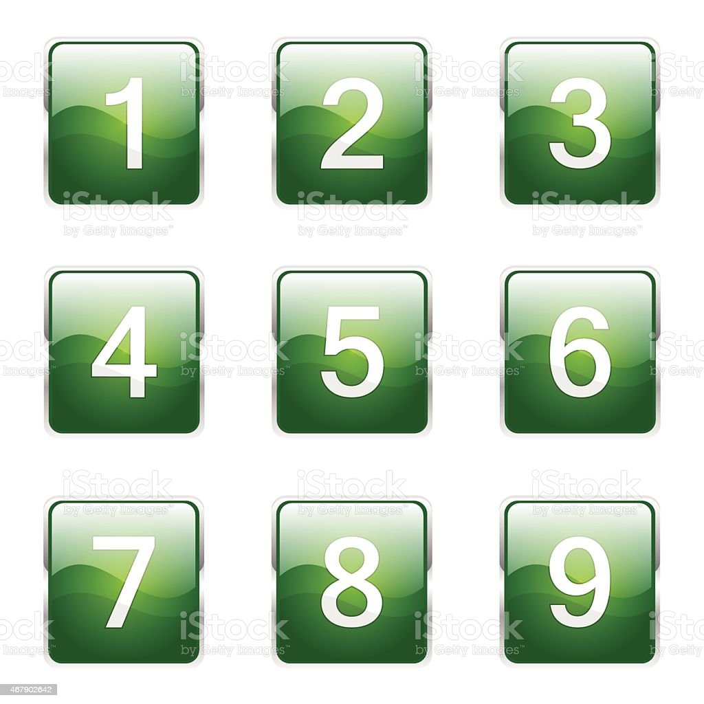 Numbers Counting Square Vector Green Icon Design Set Stock Vector ...