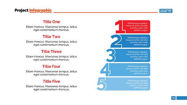 Numbers Five Points Slide Template vector art illustration
