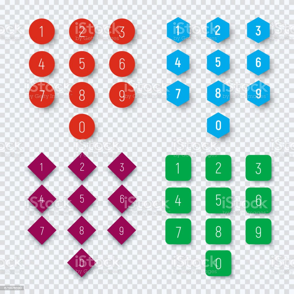 Numbers from 0 to 9 on a round, square, hexagonal and rhombic button. vector art illustration