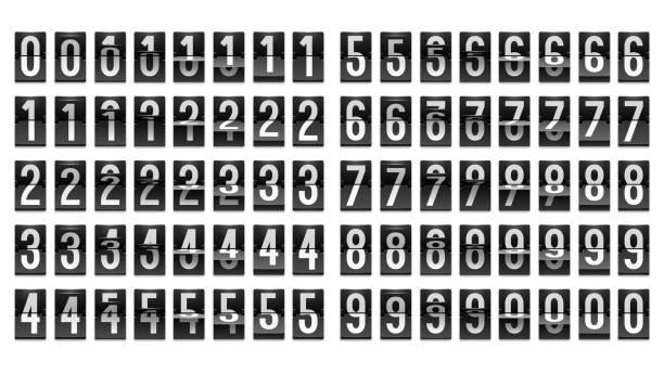 Numbers from Black Mechanical Scoreboard; Flip countdown clock counter Numbers from Black Mechanical Scoreboard; Flip countdown clock counter; White digit on black board; Countdown flip board with Scoreboard numbers stock illustrations