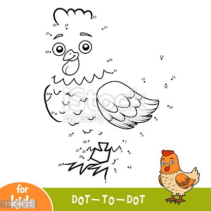 istock Numbers game, dot to dot game for children, Chicken 1185941221