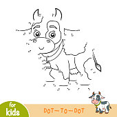 Numbers game, education dot to dot game for children, Cow