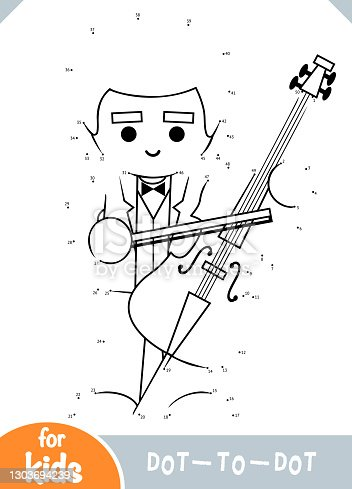 istock Numbers game, dot to dot game for children, Musician and cello 1303694239