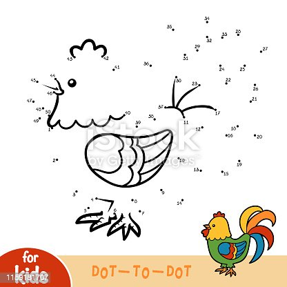 istock Numbers game, education dot to dot game, Rooster 1159181707