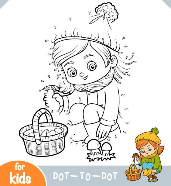 bildbanksillustrationer, clip art samt tecknat material och ikoner med nummer spel, utbildning spel för barn, söt liten flicka samlar svamp i en korg - höst plocka svamp