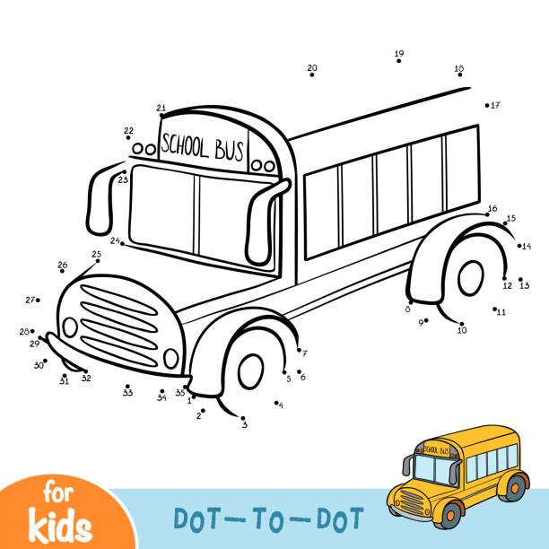 Vectores de Página Para Colorear Con Los Niños En La Escuela Autobús ...