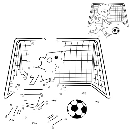 Numbers game for kids. Coloring Page Outline Of A Cartoon Boy with a soccer ball and football goal. Coloring book for children.