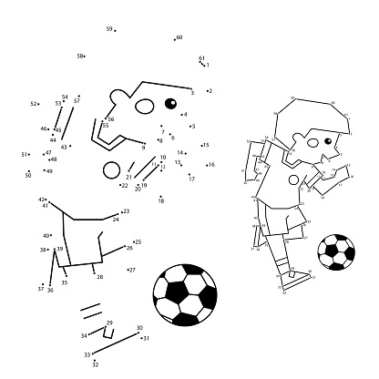 Numbers game for kids. Coloring Page Outline Of A Cartoon Boy with a soccer ball. Coloring book for children.