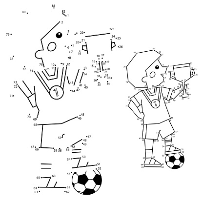Numbers game for kids. Coloring Page Outline Of a Cartoon Boy with a soccer ball and a winner Cup. Coloring book for children.