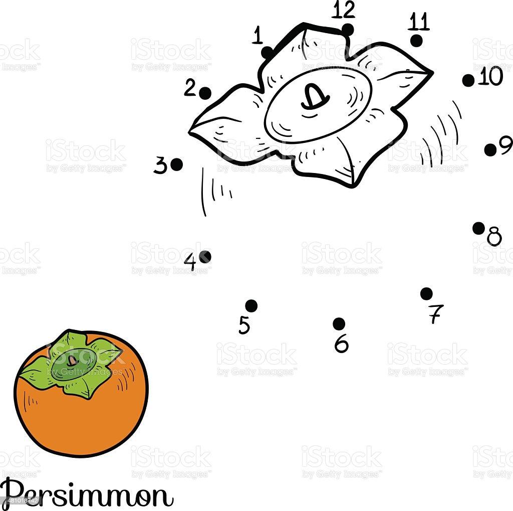 Coloriage Fruit Kaki.Numeros Jeu Fruits Et Legumes Kaki Cliparts Vectoriels Et Plus D