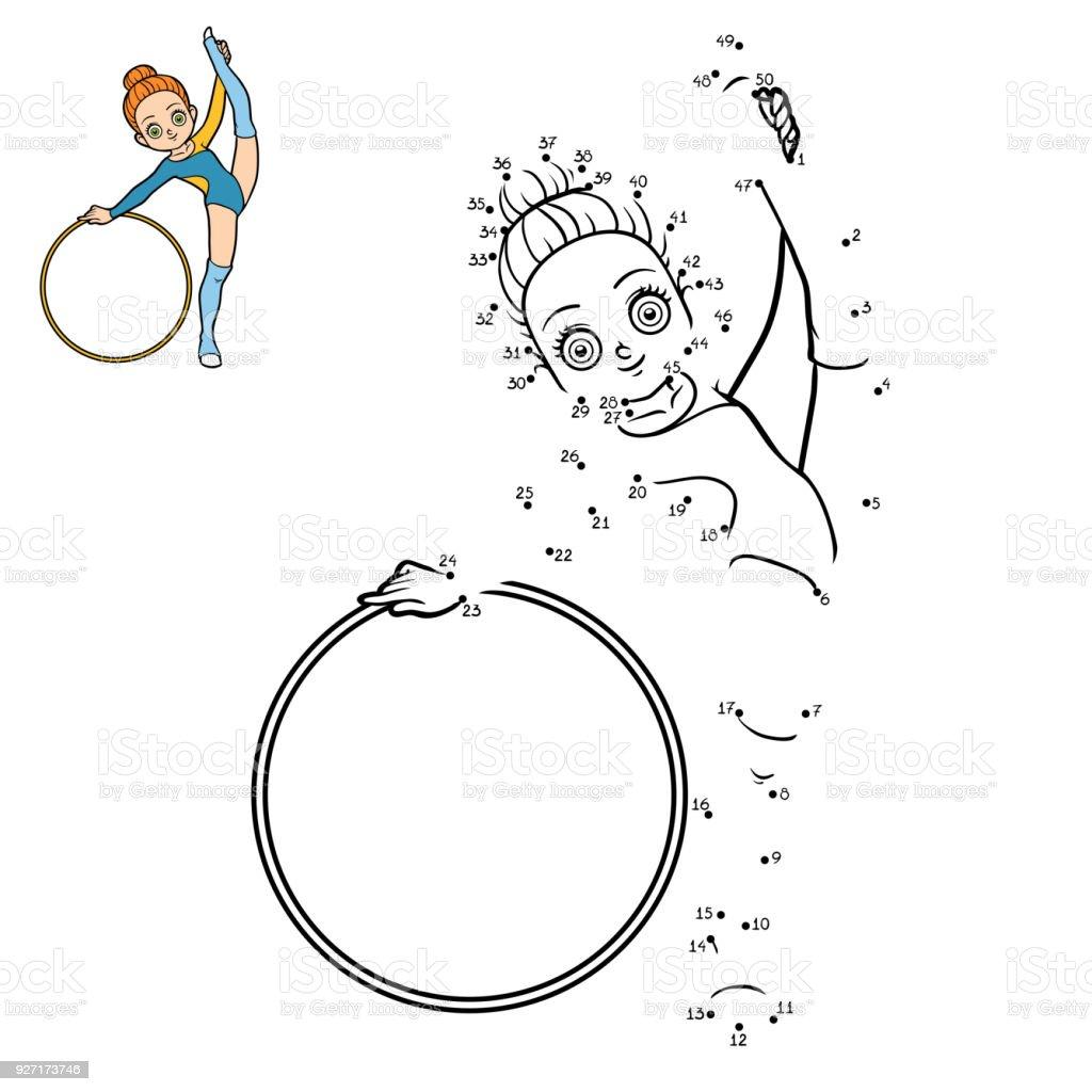 Sayı Oyunu Bir çember Ile Jimnastikçi Stok Vektör Sanatı Anaokulu