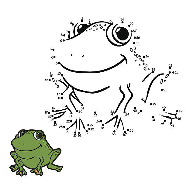 numbers game frog vector art illustration