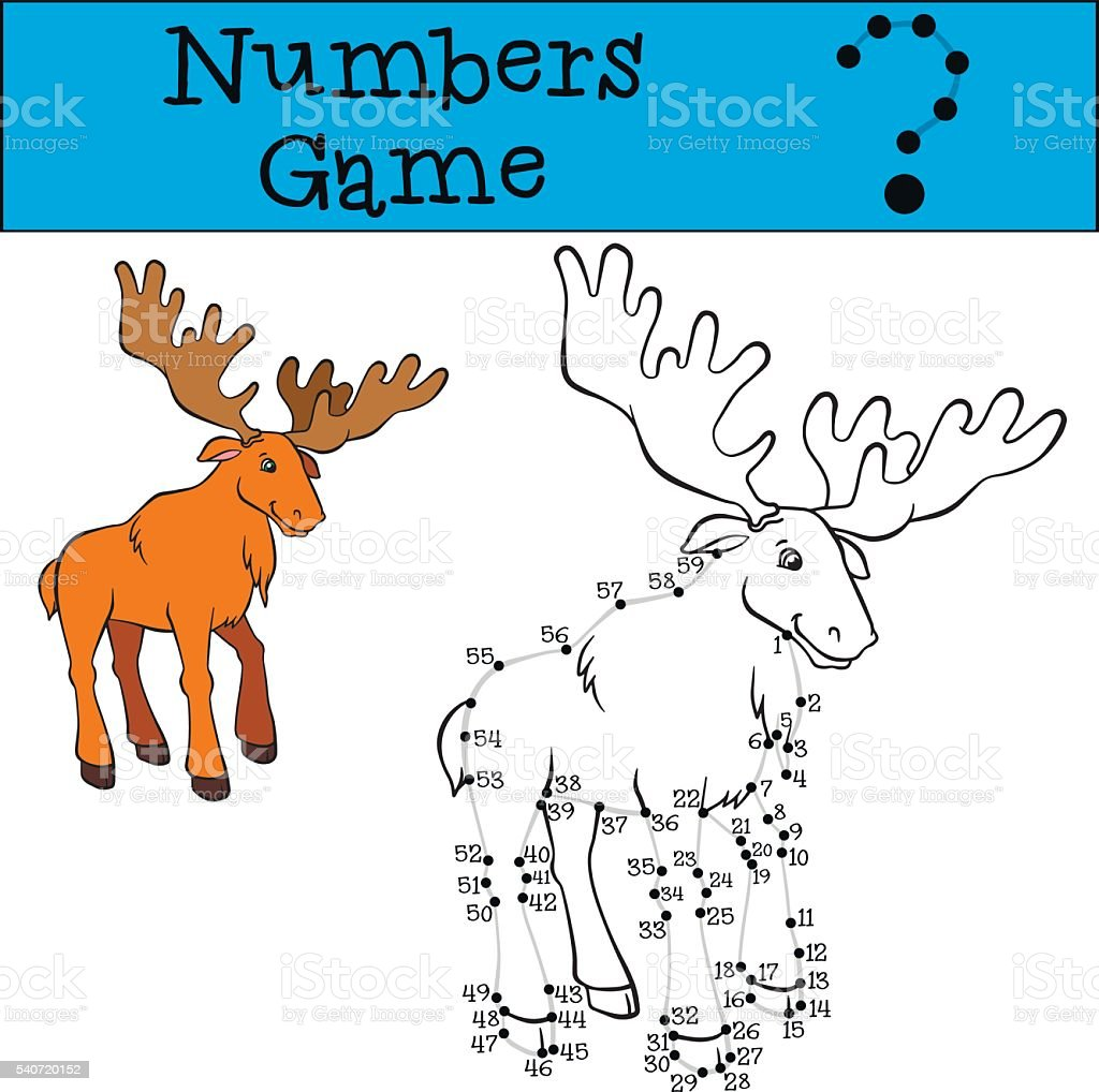 Numbers game with contour. Cute elk.