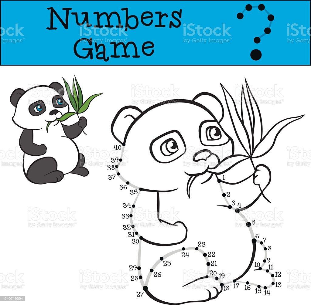 Ilustración de Números Juego Con Contorno Poco Lindo Oso Panda Comer ...