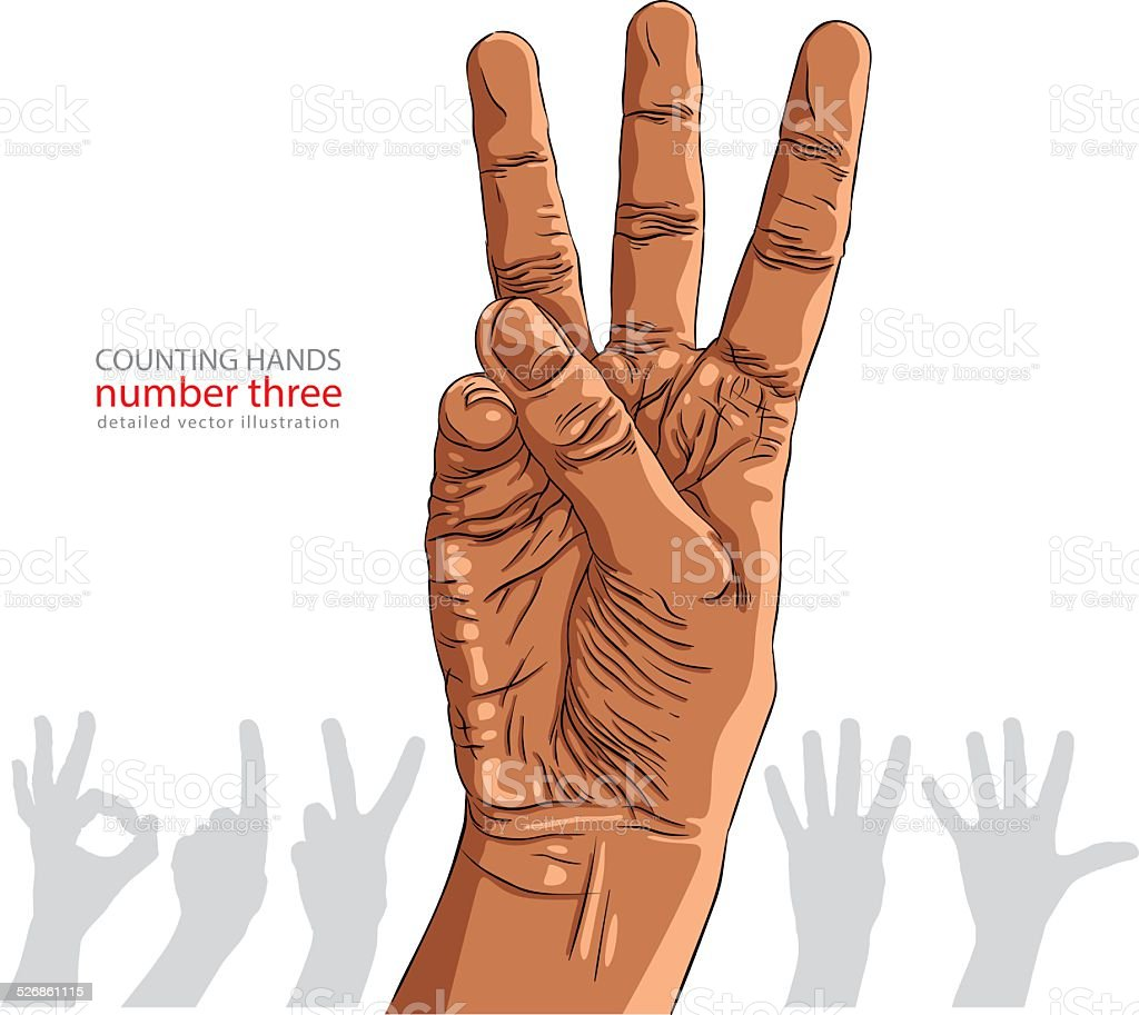 Numbers Hand Signs Set Number Three African Ethnicity Stock Vector ...