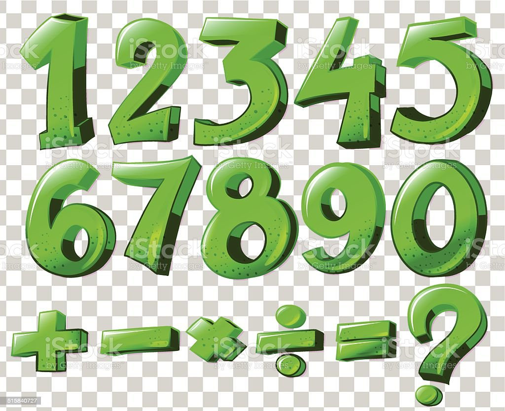 Numbers In Green Color Stock Vector Art & More Images of Computer ...