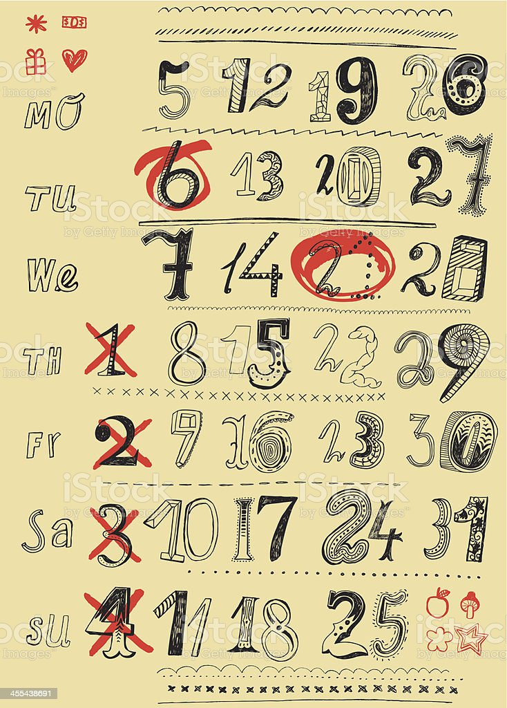 Numbers in month calendar royalty-free stock vector art