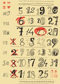 Vector file of hand drawn letters and numbers