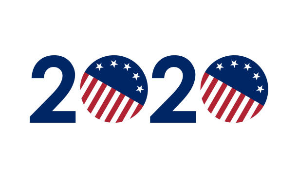 2020 numbers in united states flag colors, vector illustration 2020 numbers in united states flag colors, vector illustration election stock illustrations