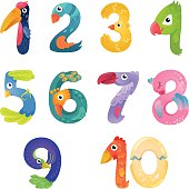 There are numbers from one to ten in fairy style like different birds. Bright and colorful gradient illustration