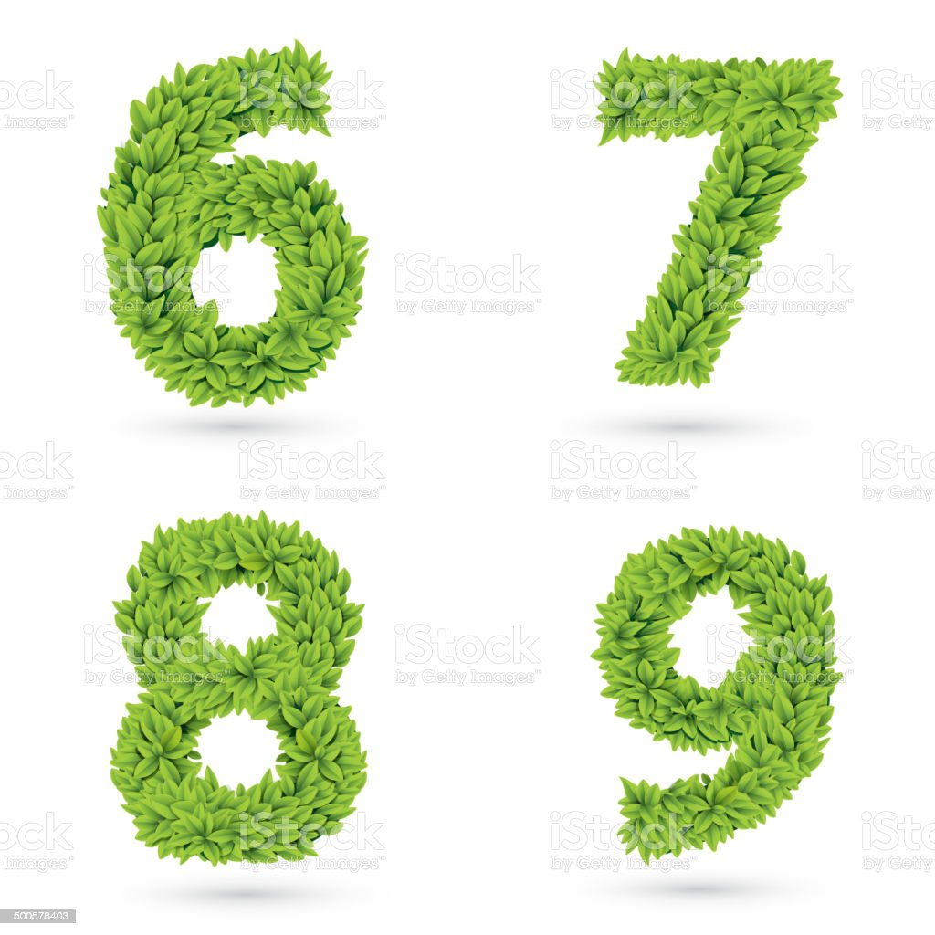 Numbers of green leaves collection. royalty-free stock vector art