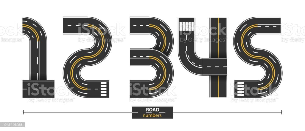 Numbers Road in a set 12345 vector art illustration