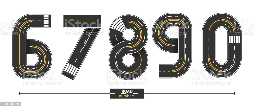 Numbers Road in a set 67890 vector art illustration