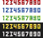 Figures 1, 2, 3, 4, 5, 6, 7, 8, 9, 0 in vector format. Set of numbers from 0 to 9 in polygonal style. Numeric set in five colours - red, blue, green, yellow, white